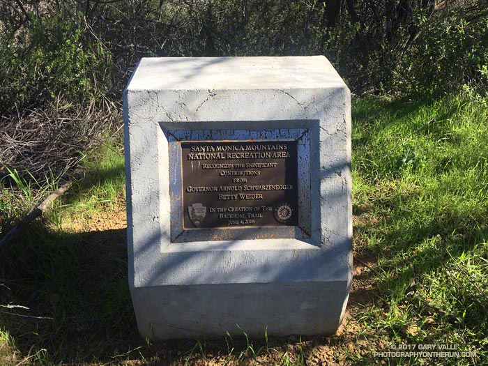 Marker along the Backbone Trail recognizing