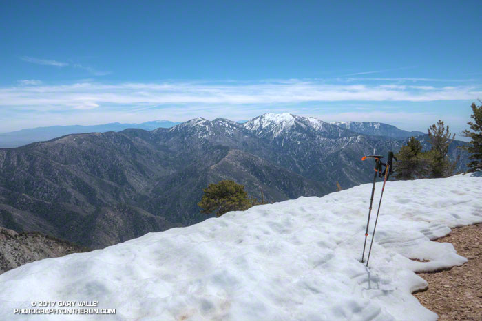 Snow-capped Pine Mountain, Dawson Peak and Mt. Baldy from the summit of Mt. Baden-Powe;;