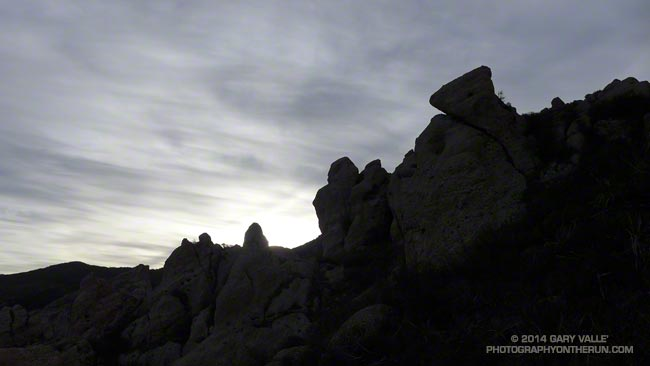Rock formations along the western-most ridge on the north side of Boney Mountain in the Santa Monica Mountains.