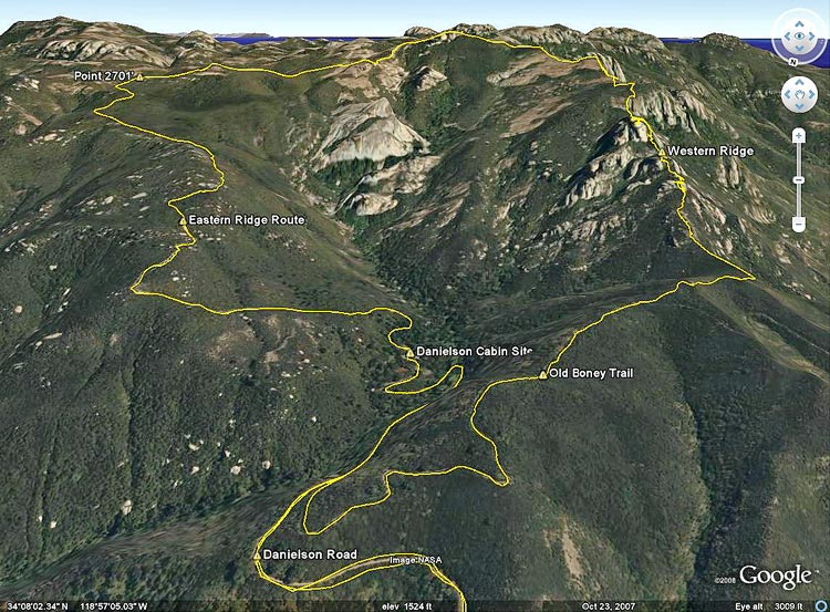 Google Earth image of a GPS trace of my route on the north side of Boney Mountain.