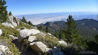 The Coachella Valley from the Wellman Divide Trail about a half mile from the summit of San Jacinto Peak.