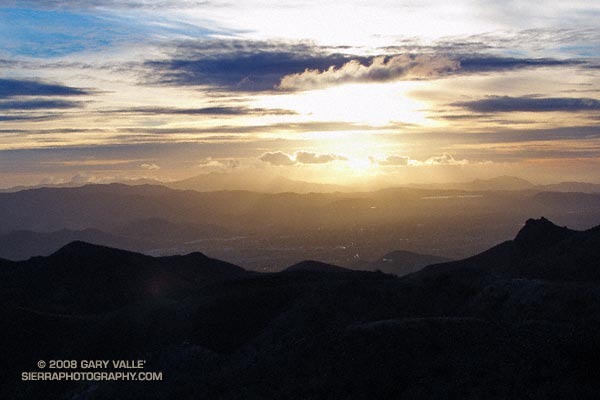 Sunset view of Simi Valley, with Boney Mountain and Conejo Mountain in the distance.