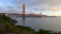 Broken clouds and early morning light on the Golden Gate Bridge