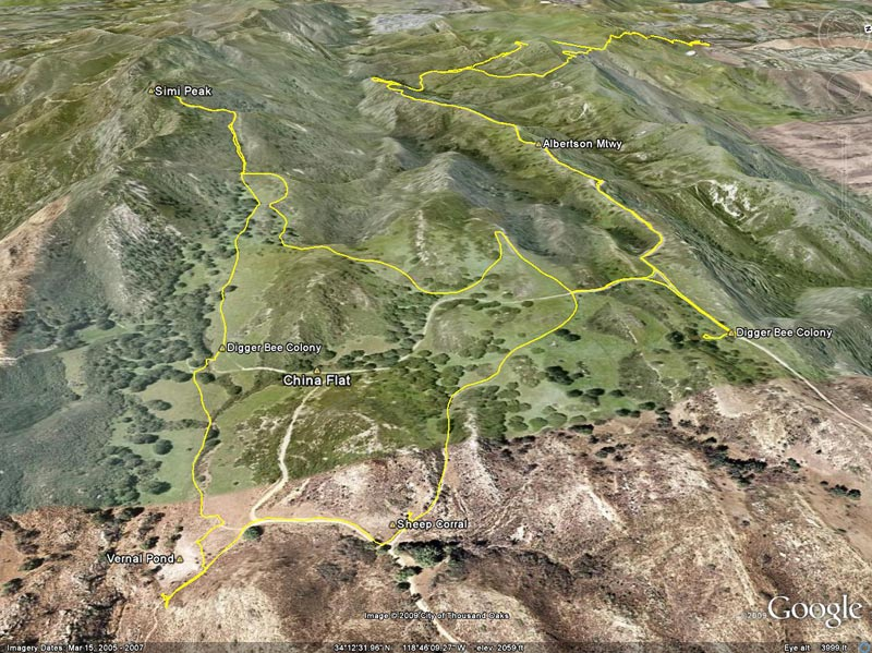 Google Earth image of a GPS trace of my route from the Wood Ranch trailhead to Simi Peak, and back.