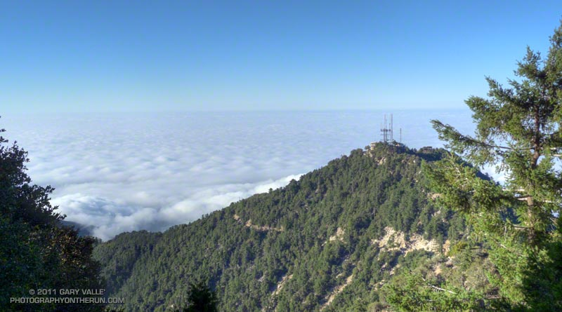Mt. Harvard and the marine layer in the Los Angeles basin from Mt. Wilson.