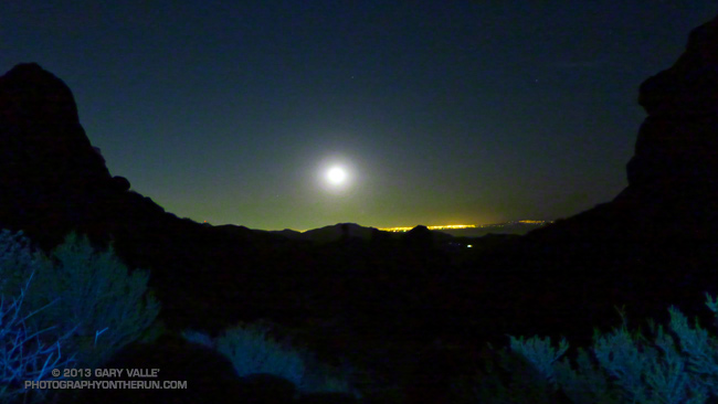 Moonrise over Los Angeles from the Backbone Trail