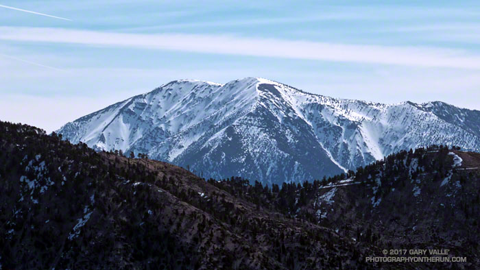 Snow-covered Mt. Baldy from the east side of Mt. Waterman. March 18, 2017.