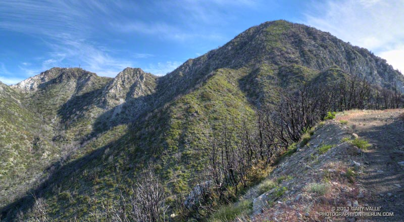 Mt. Disappointment (left) and San Gabriel Peak (right) from the Mt. Lowe Truck Trail. May 21, 2011.