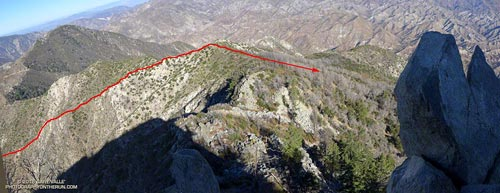 Overview of the route of the old Colby Trail from Strawberry Peak
