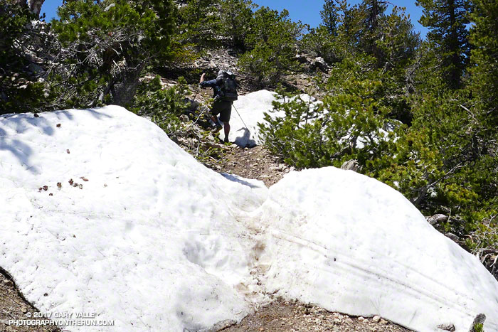 Patches of snow on the PCT west of Mt. Baden-Powell