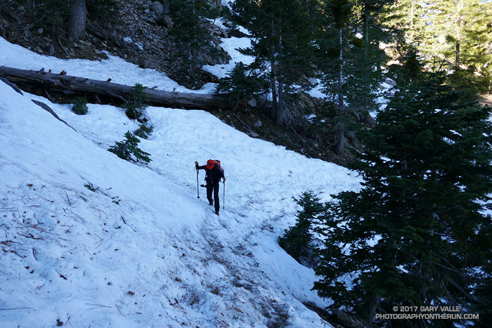 Crossing an icy stretch of snow on the PCT at an elevation of 7100', about 0.7 mile from Islip Saddle. April 2, 2017.