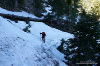 Icy stretch of snow on the PCT at 7100', about 0.7 mile from Islip Saddle.