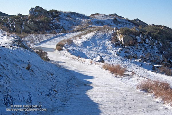Snow on Rocky Peak fire road.