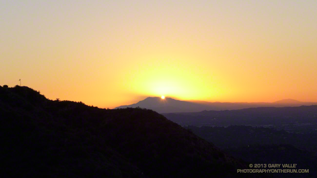 Sunrise behind San Jacinto Peak from the Mt. Wilson Trail.