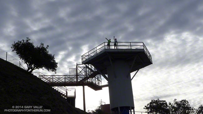 Frank and Lynn on the radar platform at San Vicente Mountain Park.