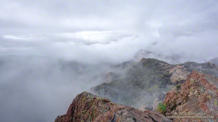 Clouds along the crest of the Santa Monica Mountains near Sandstone Peak