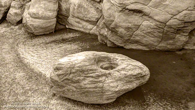 Sculpted rock at vernal pool on Rocky Peak
