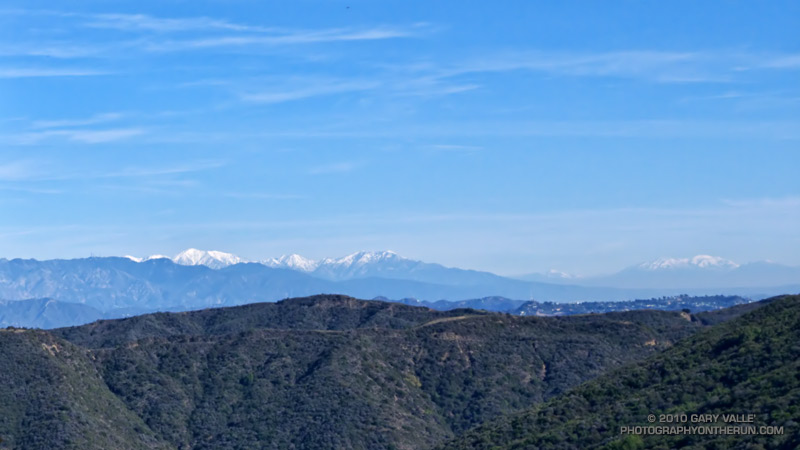 Mt. Baldy, on the left; and in the distance San Bernardino Peak, on the right.