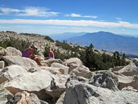 Patty and Ann on the summit of San Gorgonio Mountain.
