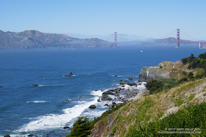 Land's End with Golden Gate Bridge and Marin Headlands in the distance.