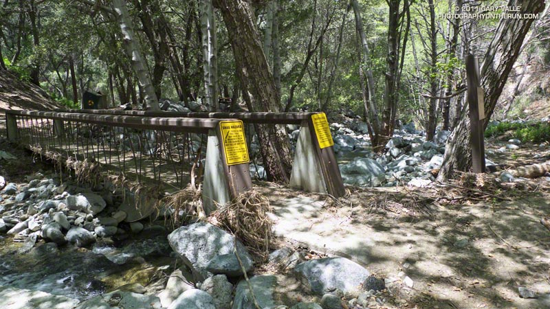 Flood debris on a bridge on the Gabrielino Trail at Switzer Picnic Area in upper Arroyo Seco. May 21, 2011.