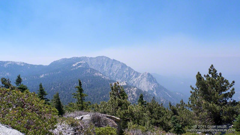 Tahquitz Peak, Tahquitz Rock (lower on the ridge) and smoke from the Eagle Fire.