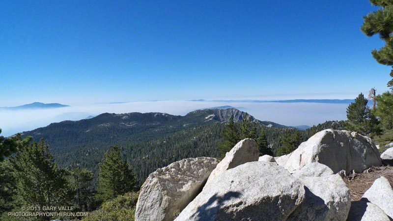 Smoke from the Eagle Fire, mixed with the marine layer. Tahquitz Peak is the rocky peak in the right cewnter of the photo. Toro Peak is on the left. July 23, 2011 at about 9:20 a.m.