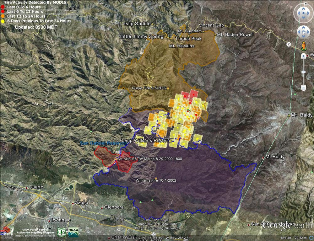 Google Earth image of 2012 Williams Fire MODIS fire detections as of 09/05/12 0900 MDT, and the perimeters of the 2002 Williams, 2002 Curve and 2009 Morris fires. Placemark locations are approximate.