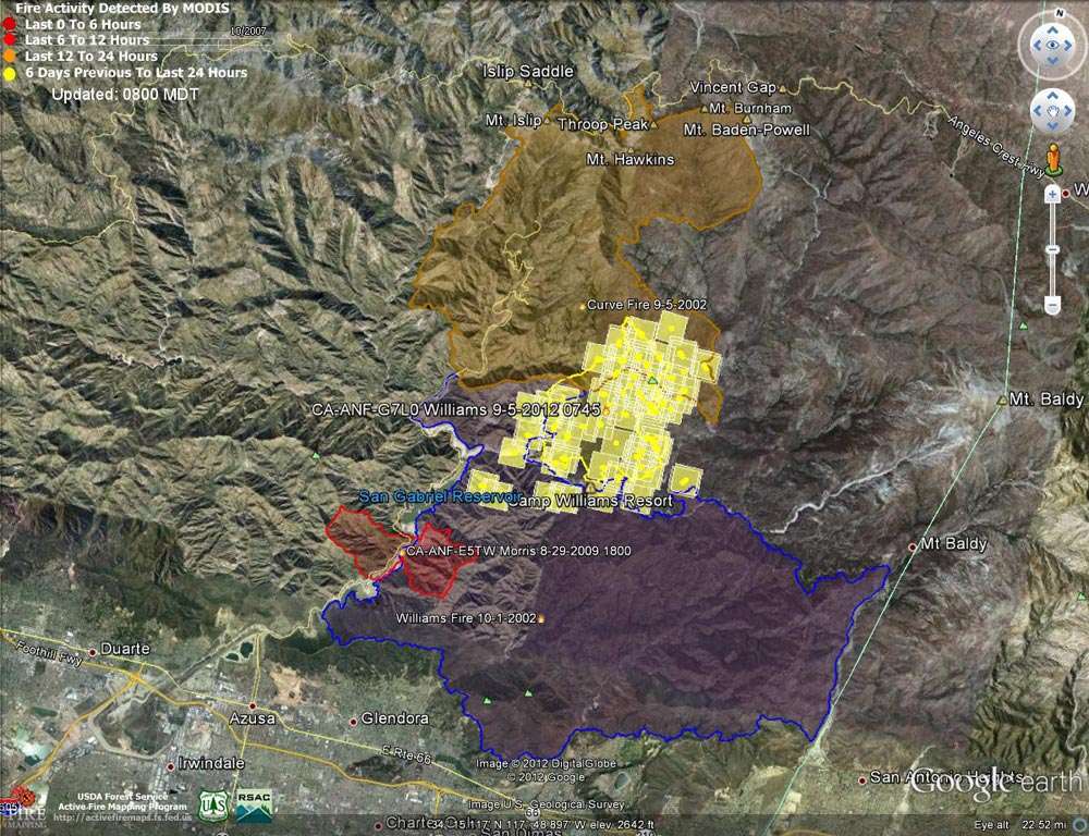 Google Earth image of 2012 Williams Fire MODIS fire detections as of 09/06/12 0800 MDT, and the perimeters of the 2012 Williams, 2002 Williams, 2002 Curve and 2009 Morris fires. Placemark locations are approximate.