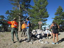 Big Bear SAR volunteers on the top of Sugarloaf Mountain. during the Kodiak Ultra Marathons.