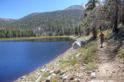 Trail runner at Dry Lake on San Gorgonio Mountain