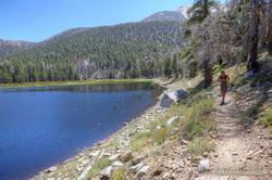 Trail runner at Dry Lake on San Gorgonio Mountain